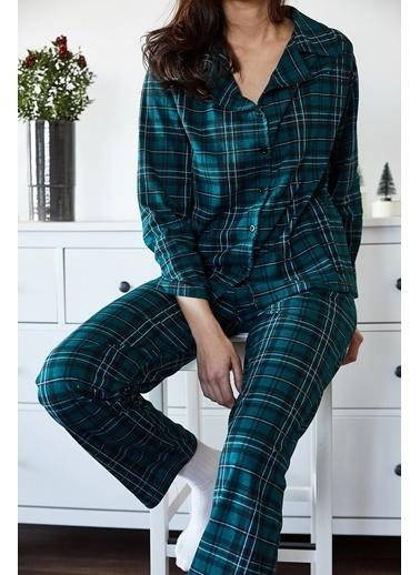 XHAN Beyaz & Yeşil Avokado Desenli Pijama Takımı 1Kxk8-44700-78 Yeşil